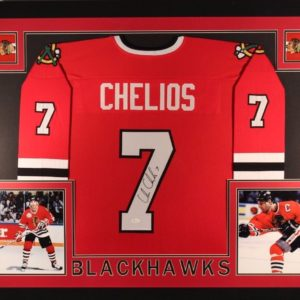 CHRIS CHELIOS AUTOGRAPHED FRAMED PRO STYLE JERSEY with JSA WITNESSED COA