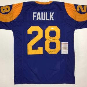 MARSHALL FAULK AUTOGRAPHED PRO STYLE JERSEY WITH HOF INSC. &  JSA WITNESSED COA