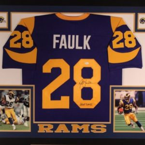 MARSHALL FAULK AUTOGRAPHED FRAMED PRO STYLE JERSEY with JSA WITNESSED COA
