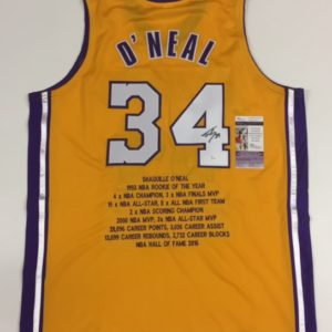 SHAQUILLE O'NEAL AUTOGRAPHED PRO STYLE STAT JERSEY with JSA COA