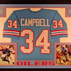 EARL CAMPBELL AUTOGRAPHED FRAMED CUSTOM PRO STYLE JERSEY with JSA WITNESS COA