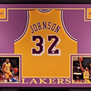 MAGIC JOHNSON AUTOGRAPHED FRAMED CUSTOM PRO STYLE JERSEY with JSA WITNESS COA