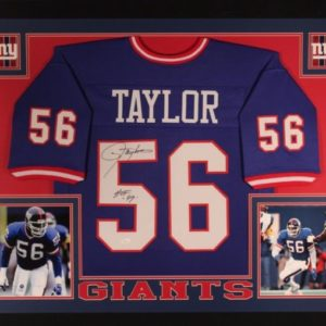 LAWRENCE TAYLOR AUTOGRAPHED FRAMED CUSTOM PRO STYLE JERSEY with JSA WITNESS COA
